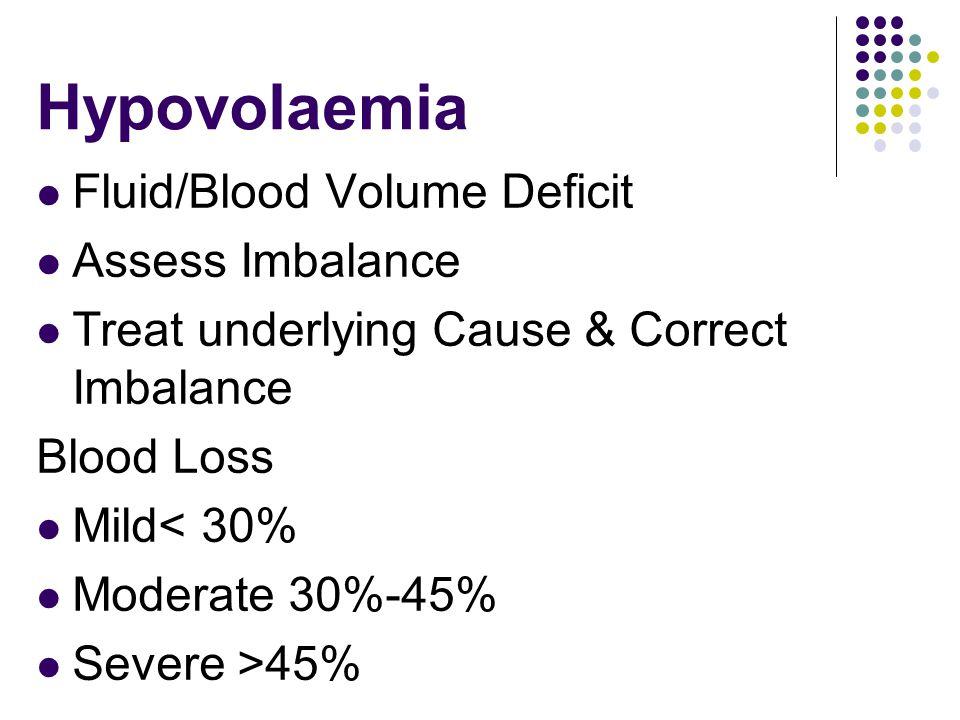 Hypovolaemia Fluid/Blood Volume Deficit Assess Imbalance Treat underlying Cause & Correct Imbalance Blood Loss Mild< 30% Moderate 30%-45% Severe >45%