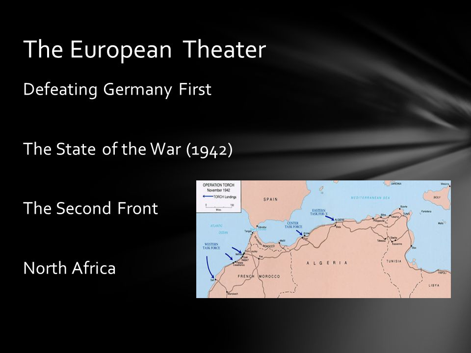 Defeating Germany First The State of the War (1942) The Second Front North Africa The European Theater