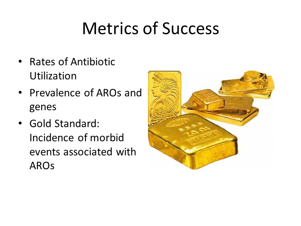 Metrics of Success Rates of Antibiotic Utilization Prevalence of AROs and genes Gold Standard: Incidence of morbid events associated with AROs