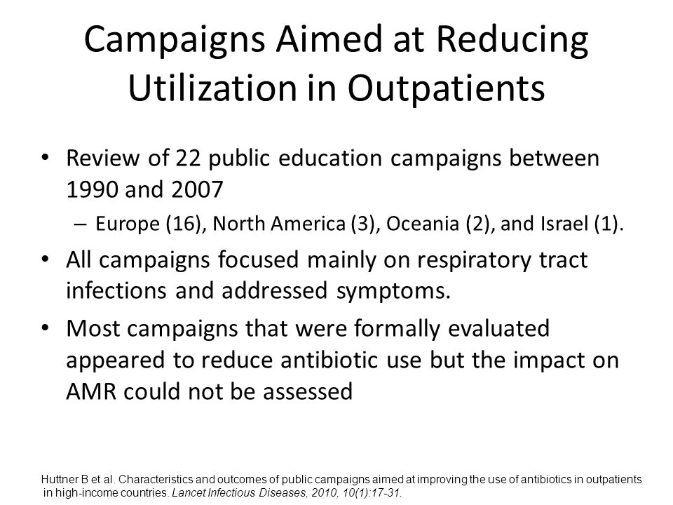 Campaigns Aimed at Reducing Utilization in Outpatients Review of 22 public education campaigns between 1990 and 2007 – Europe (16), North America (3), Oceania (2), and Israel (1).