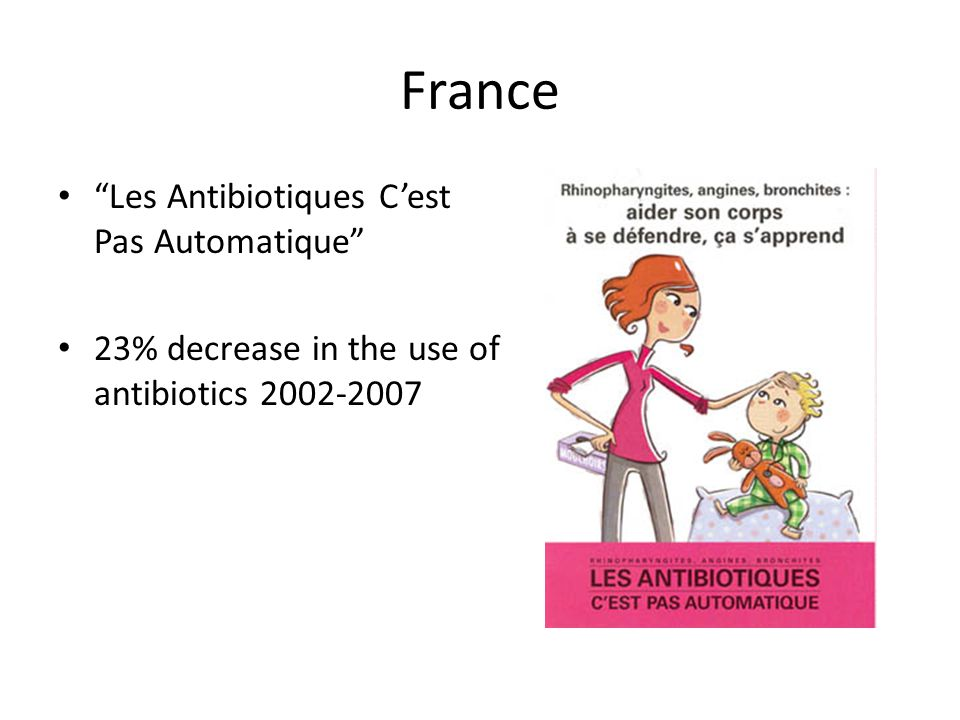 France Les Antibiotiques C'est Pas Automatique 23% decrease in the use of antibiotics 2002-2007