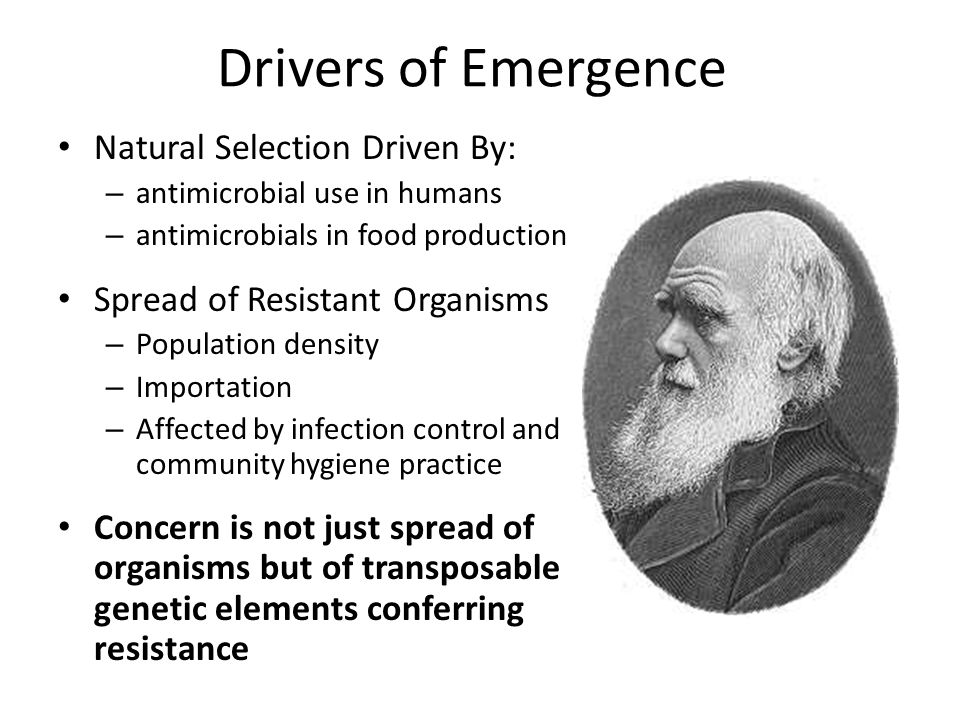 Drivers of Emergence Natural Selection Driven By: – antimicrobial use in humans – antimicrobials in food production Spread of Resistant Organisms – Population density – Importation – Affected by infection control and community hygiene practice Concern is not just spread of organisms but of transposable genetic elements conferring resistance