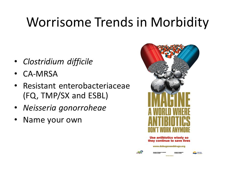 Worrisome Trends in Morbidity Clostridium difficile CA-MRSA Resistant enterobacteriaceae (FQ, TMP/SX and ESBL) Neisseria gonorroheae Name your own