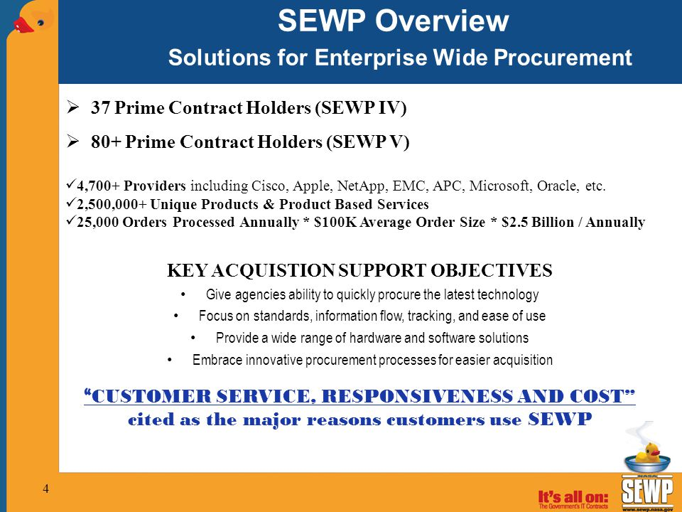 SEWP Overview Solutions for Enterprise Wide Procurement  37 Prime Contract Holders (SEWP IV)  80+ Prime Contract Holders (SEWP V) 4,700+ Providers i