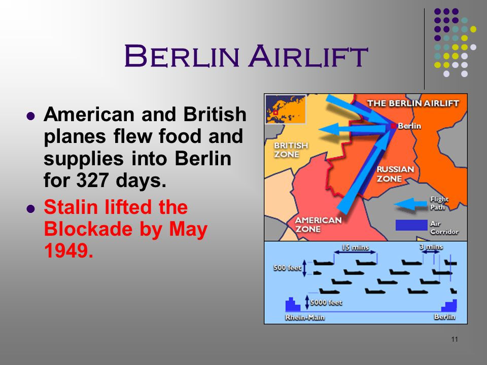 11 Berlin Airlift American and British planes flew food and supplies into Berlin for 327 days.