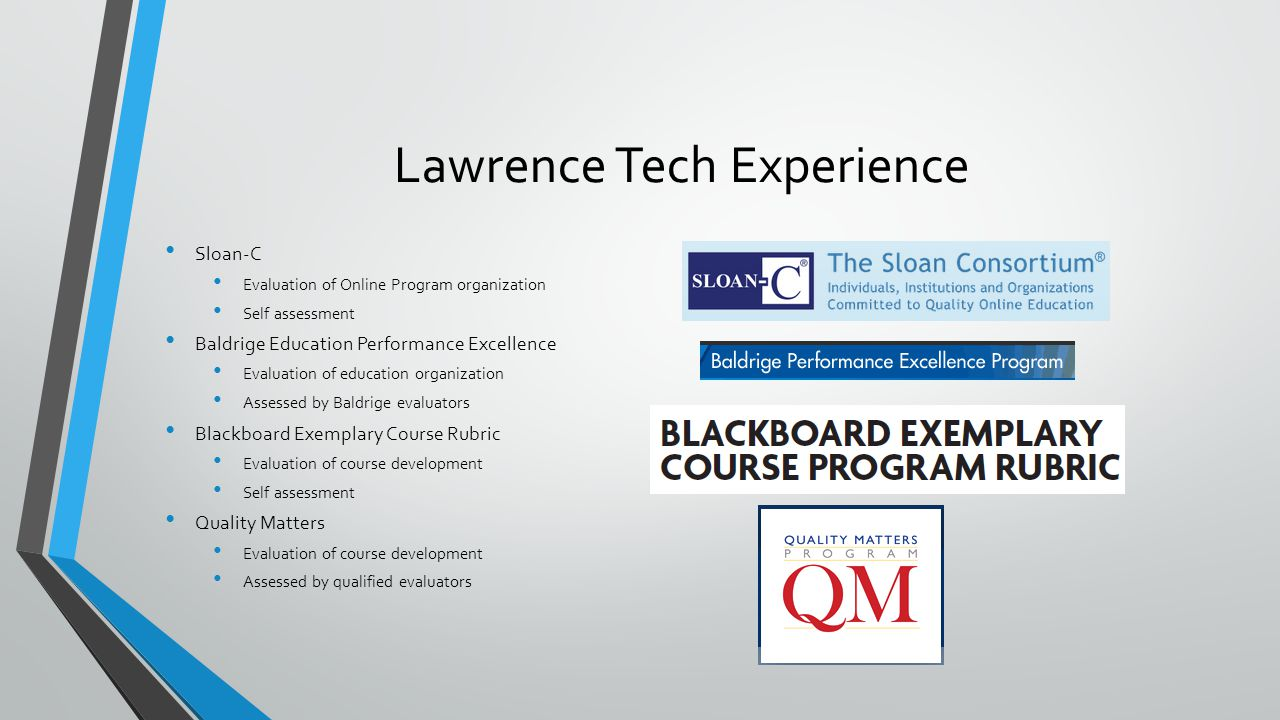 Lawrence Tech Experience Sloan-C Evaluation of Online Program organization Self assessment Baldrige Education Performance Excellence Evaluation of education organization Assessed by Baldrige evaluators Blackboard Exemplary Course Rubric Evaluation of course development Self assessment Quality Matters Evaluation of course development Assessed by qualified evaluators