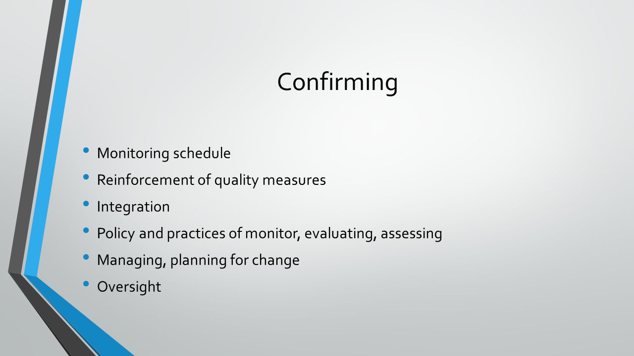Confirming Monitoring schedule Reinforcement of quality measures Integration Policy and practices of monitor, evaluating, assessing Managing, planning for change Oversight