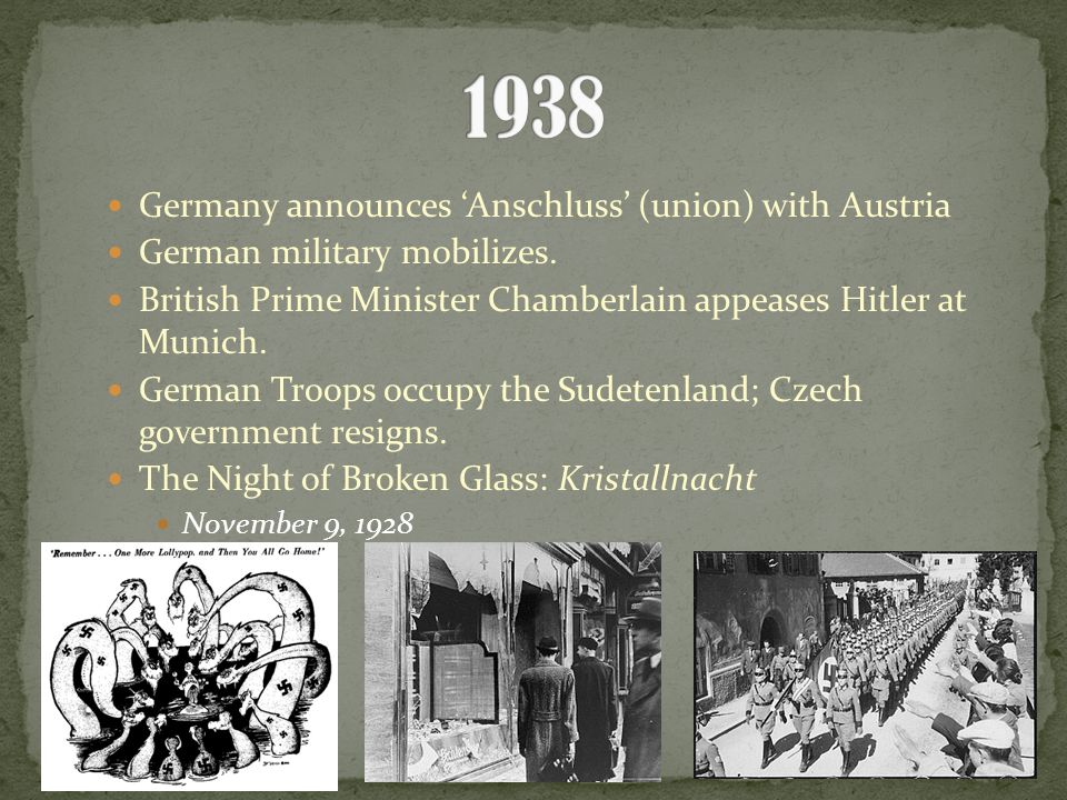 Germany announces 'Anschluss' (union) with Austria German military mobilizes.