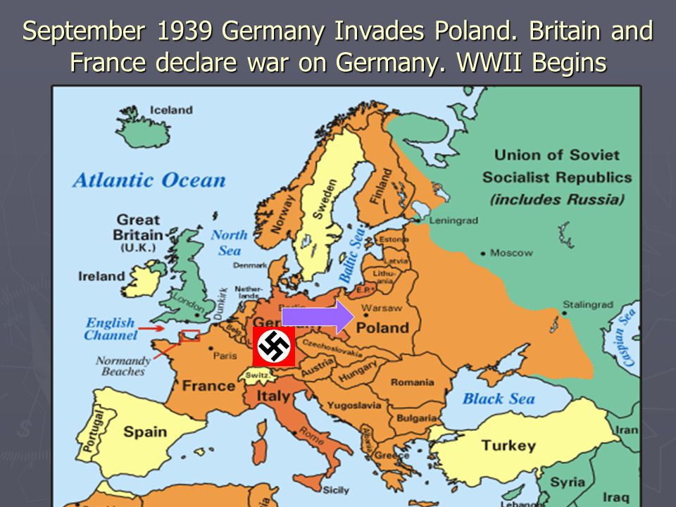 September 1939 Germany Invades Poland. Britain and France declare war on Germany. WWII Begins