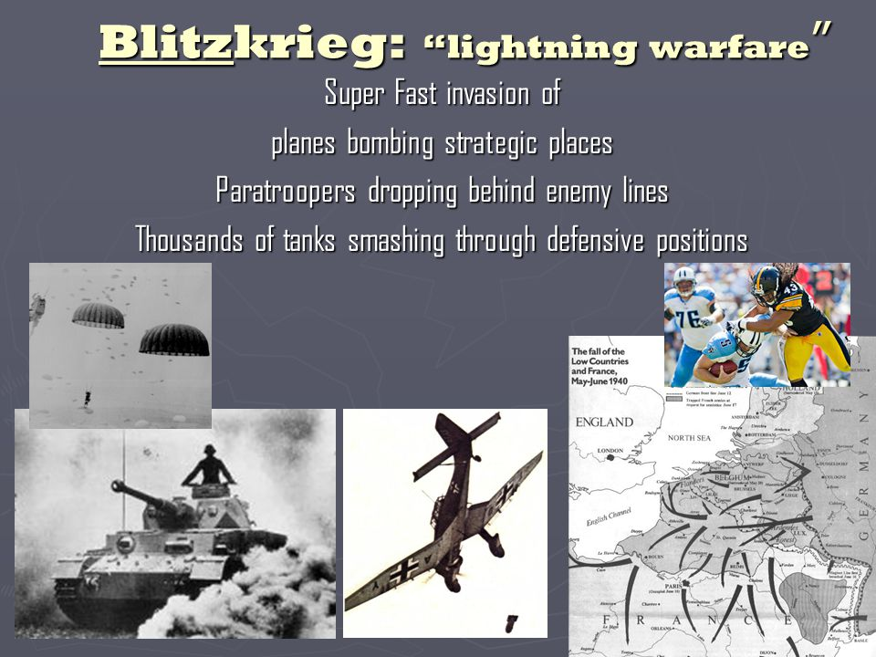 Blitzkrieg: lightning warfare Super Fast invasion of planes bombing strategic places Paratroopers dropping behind enemy lines Thousands of tanks smashing through defensive positions