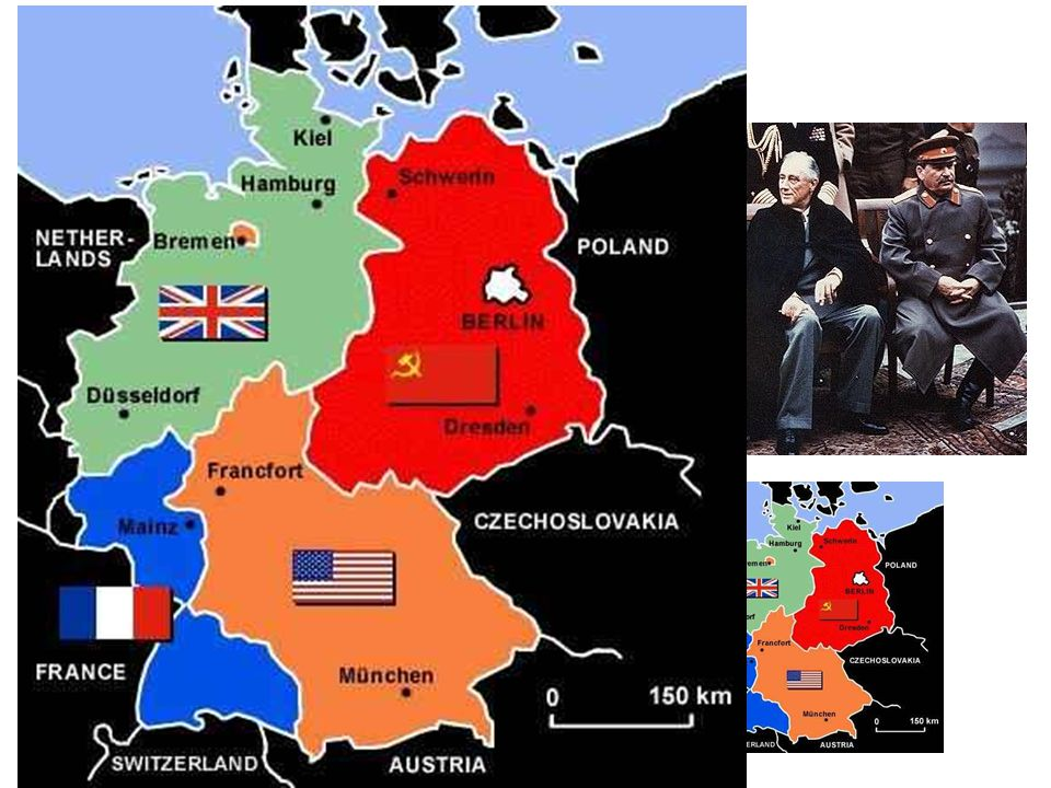 Yalta, Yalta, Yalta Yalta Conference: February 1945 – Stalin, Roosevelt, Churchill – Discuss post-war plans for Germany. Germany to be – demilitarizie