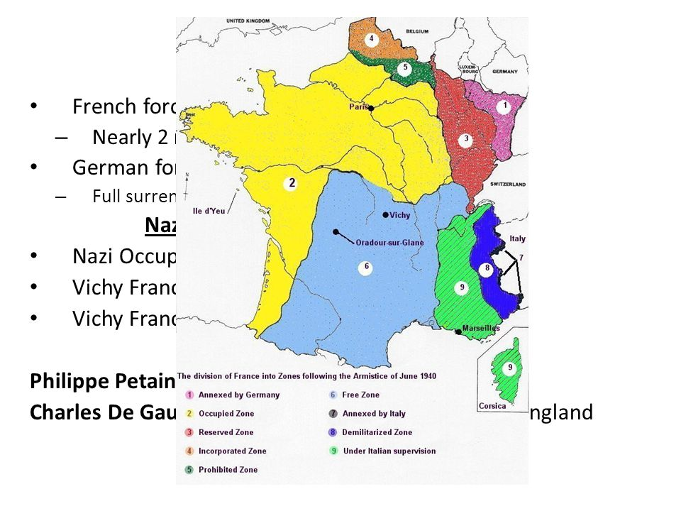 The French Surrender French forces unprepared for attack – Nearly 2 million French soldiers captured.