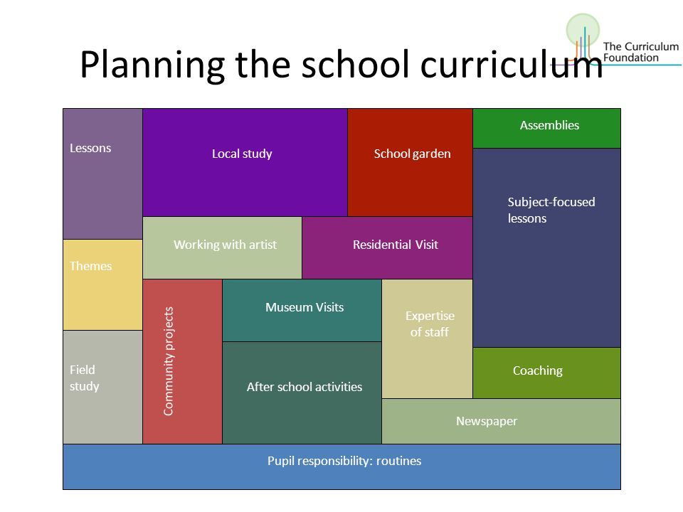 Planning the school curriculum Lessons Themes Field study Pupil responsibility: routines Subject-focused lessons Working with artistResidential Visit