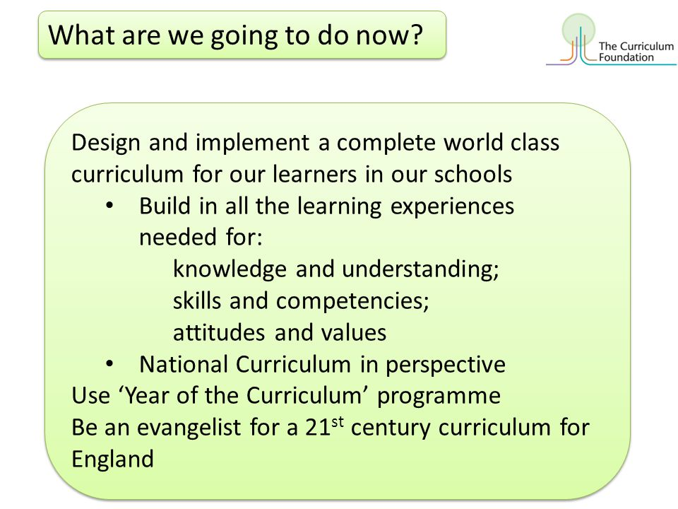 What are we going to do now? Design and implement a complete world class curriculum for our learners in our schools Build in all the learning experien