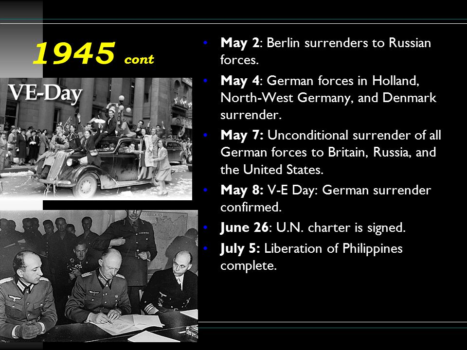 1945 cont.July 16: Potsdam conference ends.