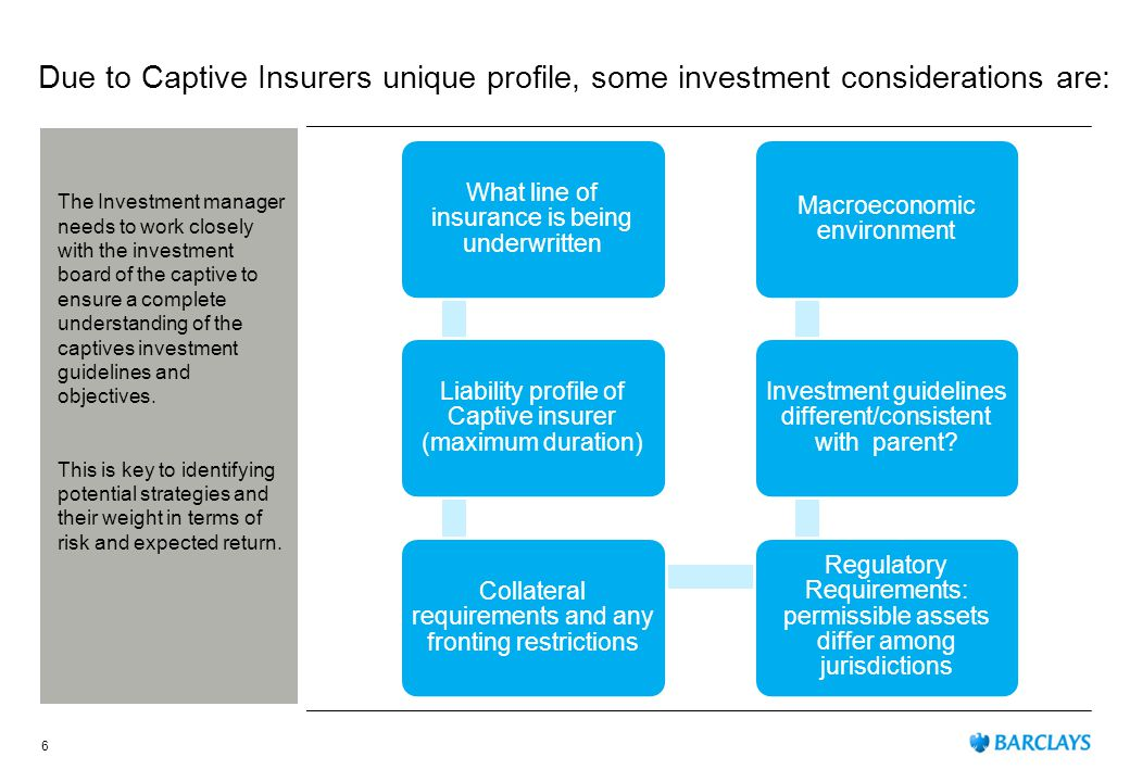 Due to Captive Insurers unique profile, some investment considerations are: What line of insurance is being underwritten Liability profile of Captive insurer (maximum duration) Collateral requirements and any fronting restrictions Regulatory Requirements: permissible assets differ among jurisdictions Investment guidelines different/consistent with parent.