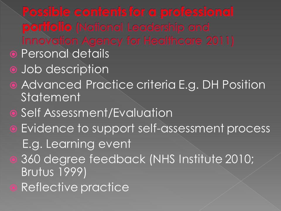  Personal details  Job description  Advanced Practice criteria E.g.