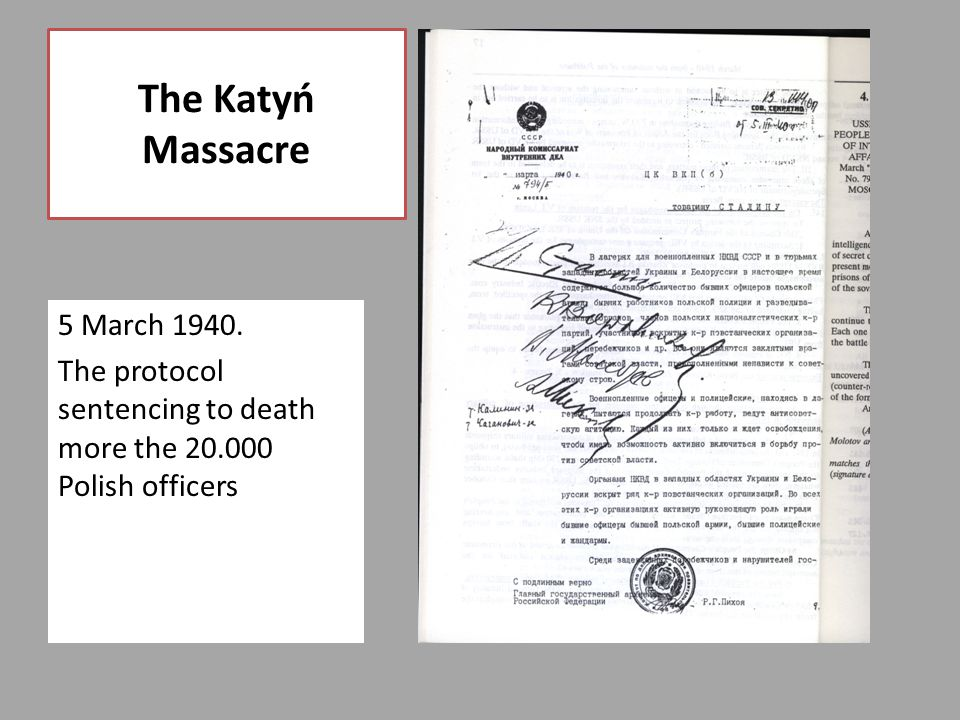 5 March 1940. The protocol sentencing to death more the 20.000 Polish officers The Katyń Massacre