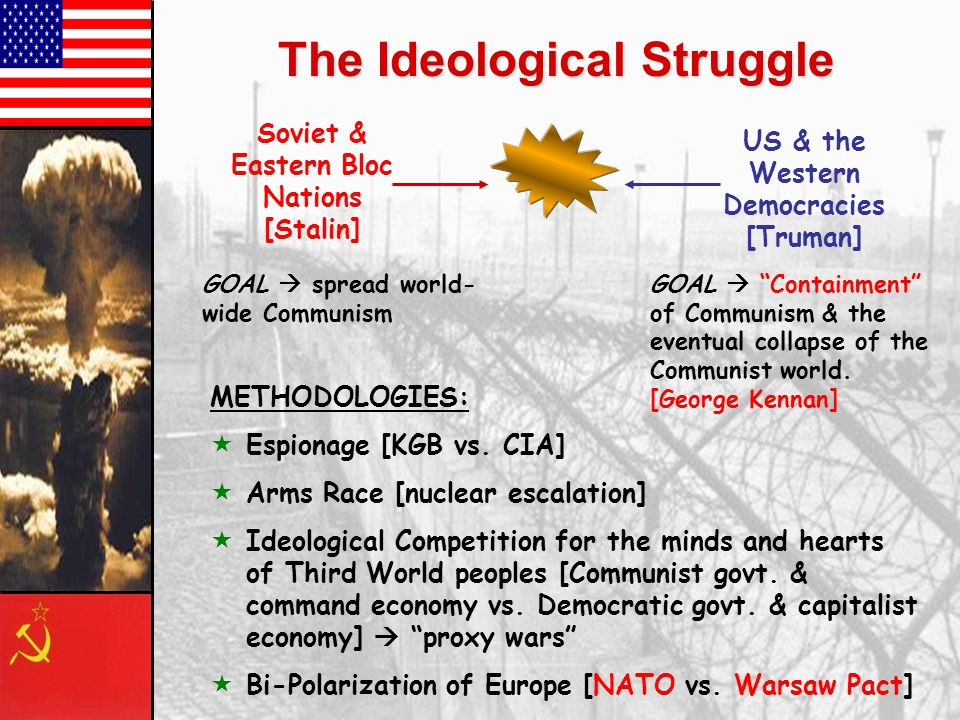 The Ideological Struggle Soviet & Eastern Bloc Nations [Stalin] US & the Western Democracies [Truman] GOAL  spread world- wide Communism GOAL  Containment of Communism & the eventual collapse of the Communist world.