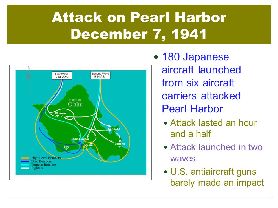Attack on Pearl Harbor December 7, 1941 180 Japanese aircraft launched from six aircraft carriers attacked Pearl Harbor Attack lasted an hour and a half Attack launched in two waves U.S.