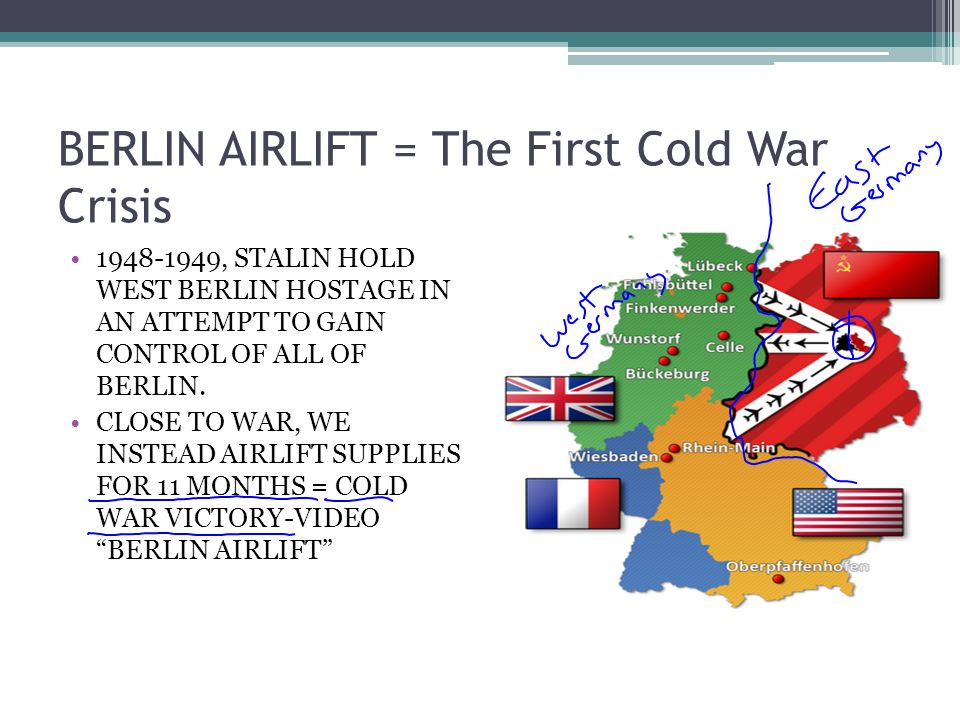 BERLIN AIRLIFT = The First Cold War Crisis 1948-1949, STALIN HOLD WEST BERLIN HOSTAGE IN AN ATTEMPT TO GAIN CONTROL OF ALL OF BERLIN. CLOSE TO WAR, WE