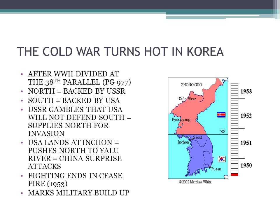 THE COLD WAR TURNS HOT IN KOREA AFTER WWII DIVIDED AT THE 38 TH PARALLEL (PG 977) NORTH = BACKED BY USSR SOUTH = BACKED BY USA USSR GAMBLES THAT USA W
