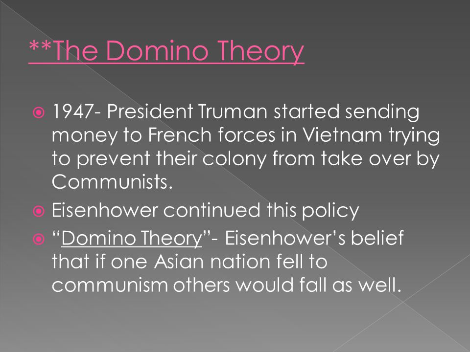  1947- President Truman started sending money to French forces in Vietnam trying to prevent their colony from take over by Communists.  Eisenhower c