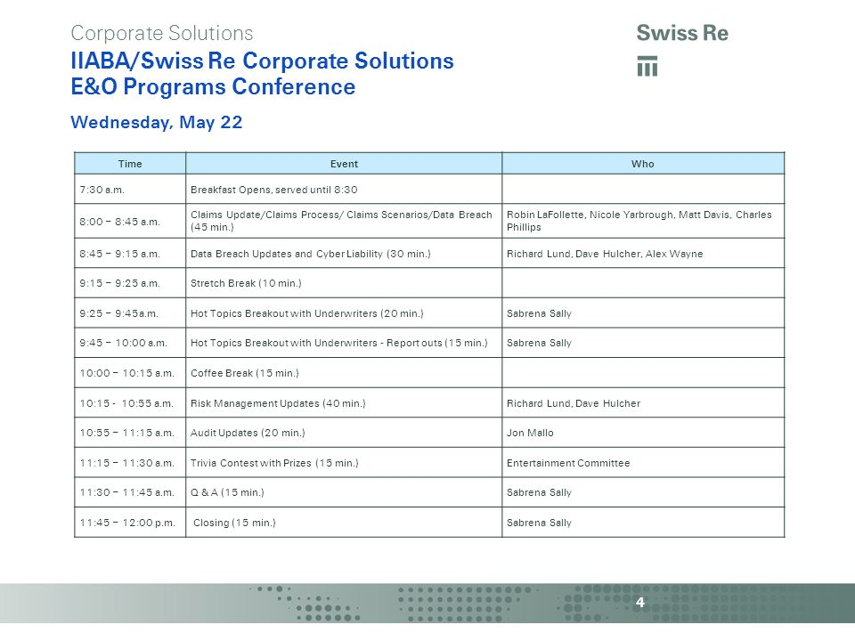 a Corporate Solutions IIABA/Swiss Re Corporate Solutions E&O Programs Conference Wednesday, May 22 4 TimeEventWho 7:30 a.m.Breakfast Opens, served until 8:30 8:00 – 8:45 a.m.