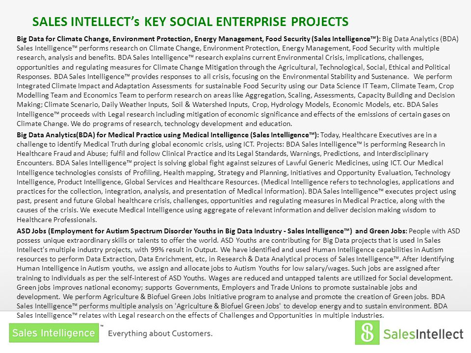 SALES INTELLECT's KEY SOCIAL ENTERPRISE PROJECTS Big Data for Climate Change, Environment Protection, Energy Management, Food Security (Sales Intellig