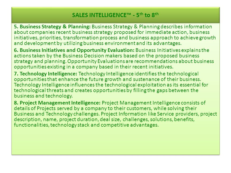 SALES INTELLIGENCE™ - 9 th to 12 th 9.
