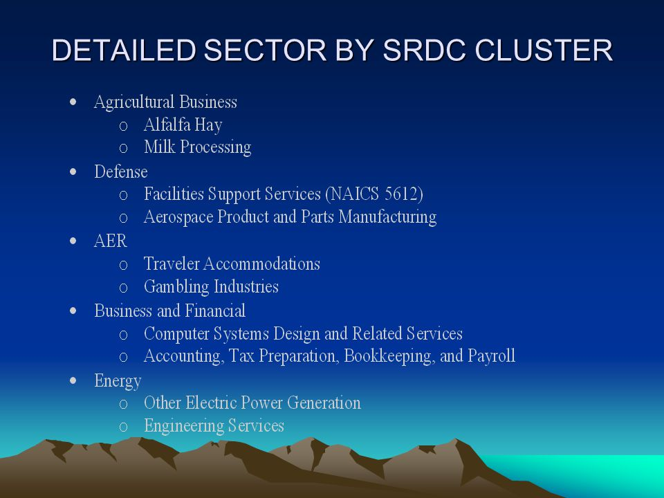 DETAILED SECTOR BY SRDC CLUSTER