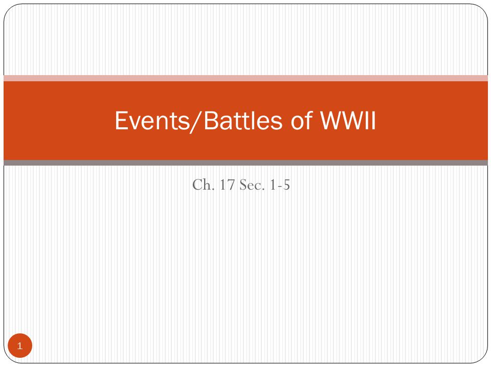 Ch. 17 Sec. 1-5 Events/Battles of WWII 1