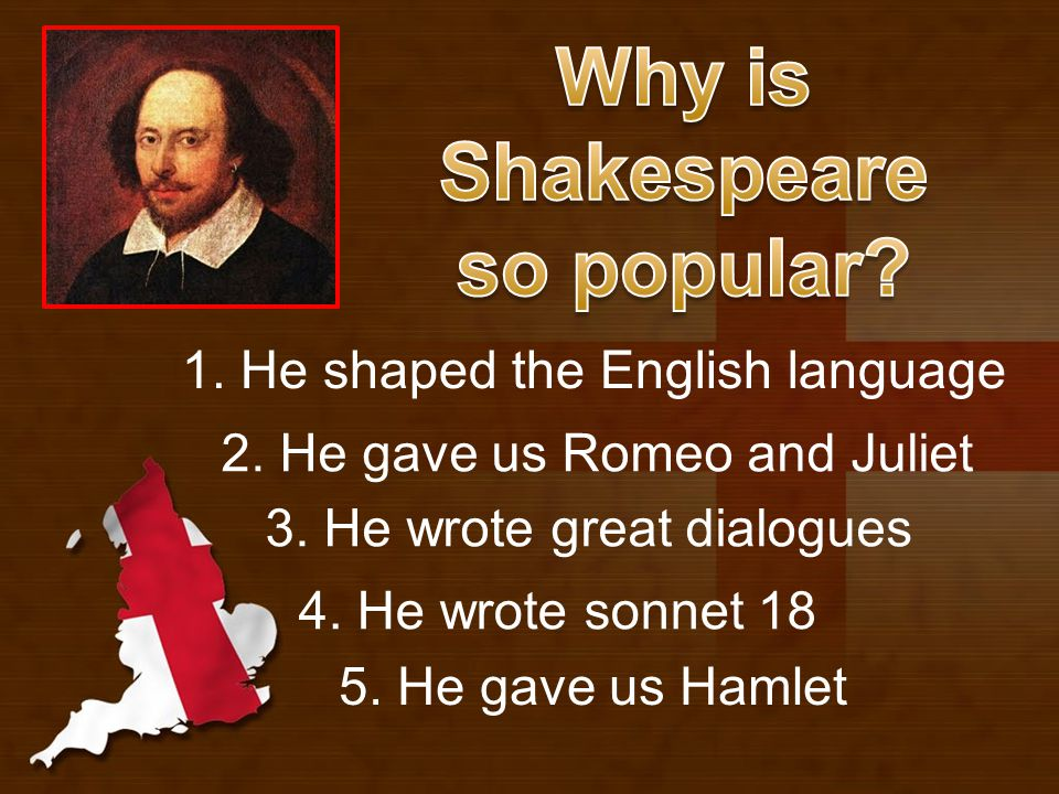 1. He shaped the English language 4. He wrote sonnet 18 3.