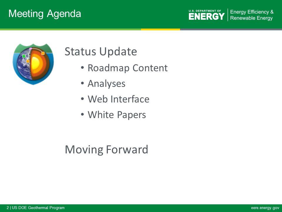 2 | US DOE Geothermal Programeere.energy.gov Status Update Roadmap Content Analyses Web Interface White Papers Moving Forward Meeting Agenda