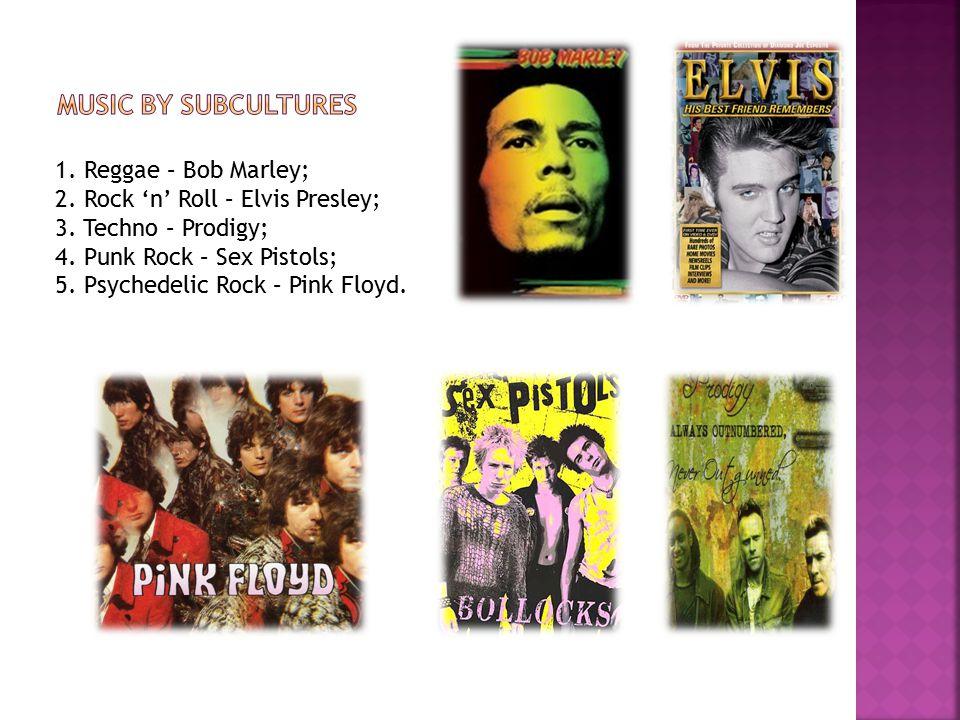 1. Reggae – Bob Marley; 2. Rock 'n' Roll – Elvis Presley; 3.