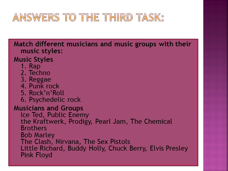 Match different musicians and music groups with their music styles: Music Styles 1.