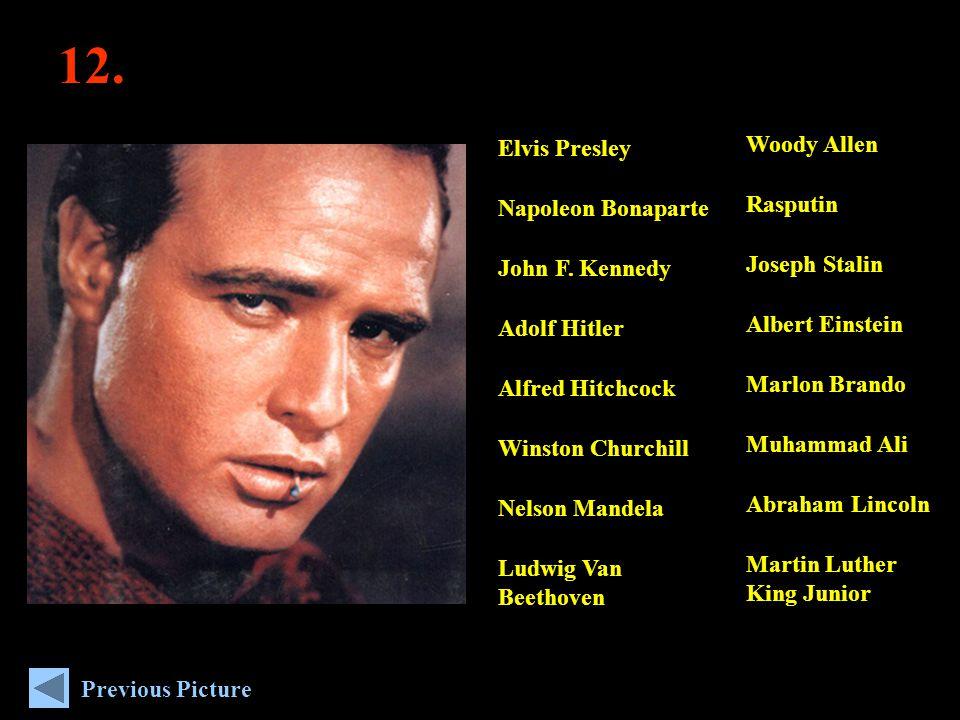 12. Woody Allen Rasputin Joseph Stalin Albert Einstein Marlon Brando Muhammad Ali Abraham Lincoln Martin Luther King Junior Elvis Presley Napoleon Bon