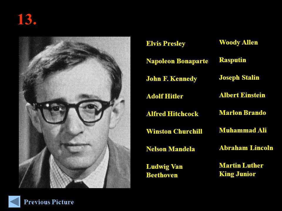 13. Woody Allen Rasputin Joseph Stalin Albert Einstein Marlon Brando Muhammad Ali Abraham Lincoln Martin Luther King Junior Elvis Presley Napoleon Bon