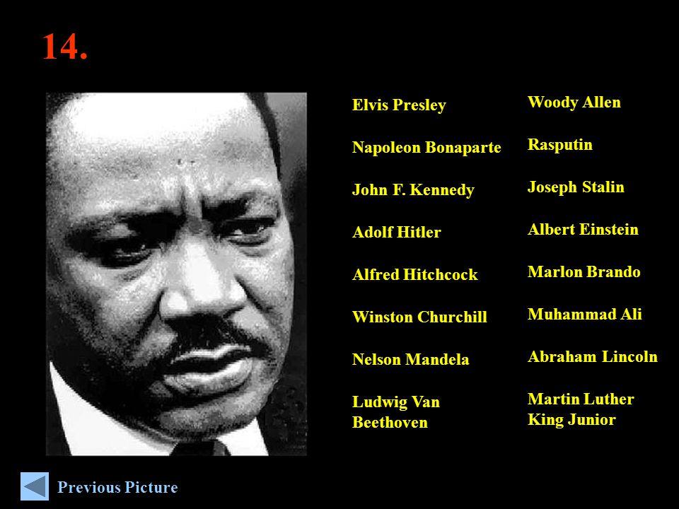 14. Woody Allen Rasputin Joseph Stalin Albert Einstein Marlon Brando Muhammad Ali Abraham Lincoln Martin Luther King Junior Elvis Presley Napoleon Bon