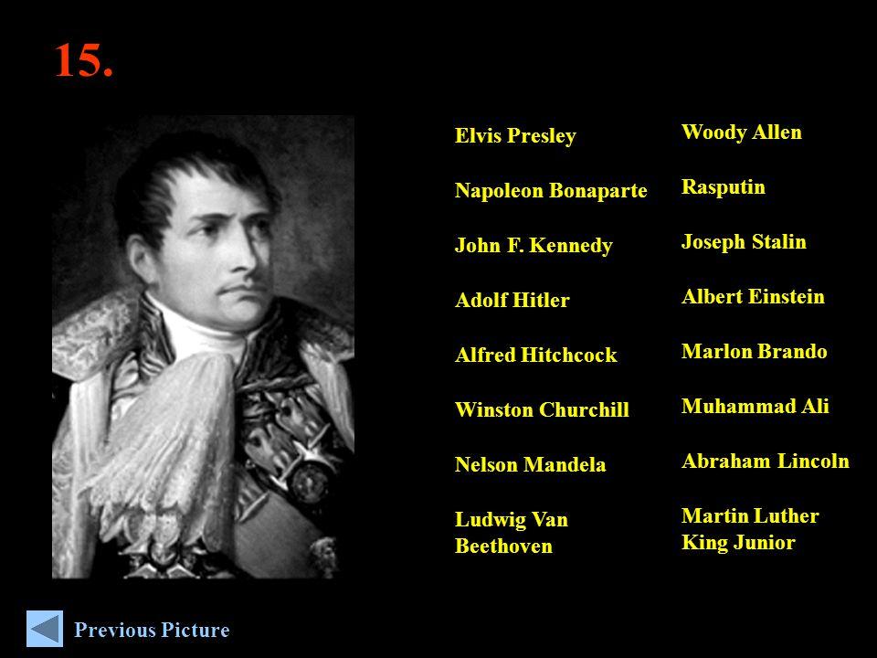15. Woody Allen Rasputin Joseph Stalin Albert Einstein Marlon Brando Muhammad Ali Abraham Lincoln Martin Luther King Junior Elvis Presley Napoleon Bon