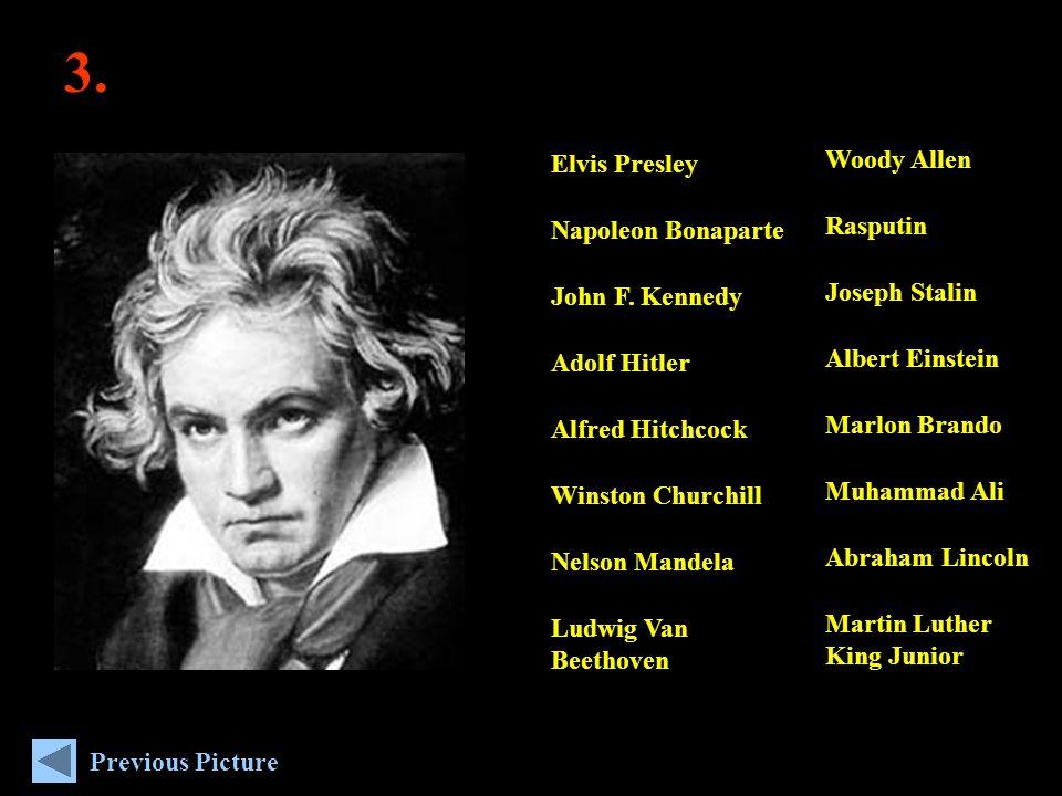 3. Woody Allen Rasputin Joseph Stalin Albert Einstein Marlon Brando Muhammad Ali Abraham Lincoln Martin Luther King Junior Elvis Presley Napoleon Bona
