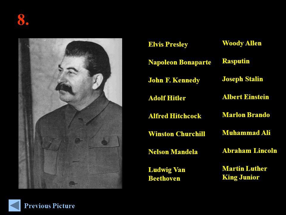 8. Woody Allen Rasputin Joseph Stalin Albert Einstein Marlon Brando Muhammad Ali Abraham Lincoln Martin Luther King Junior Elvis Presley Napoleon Bona