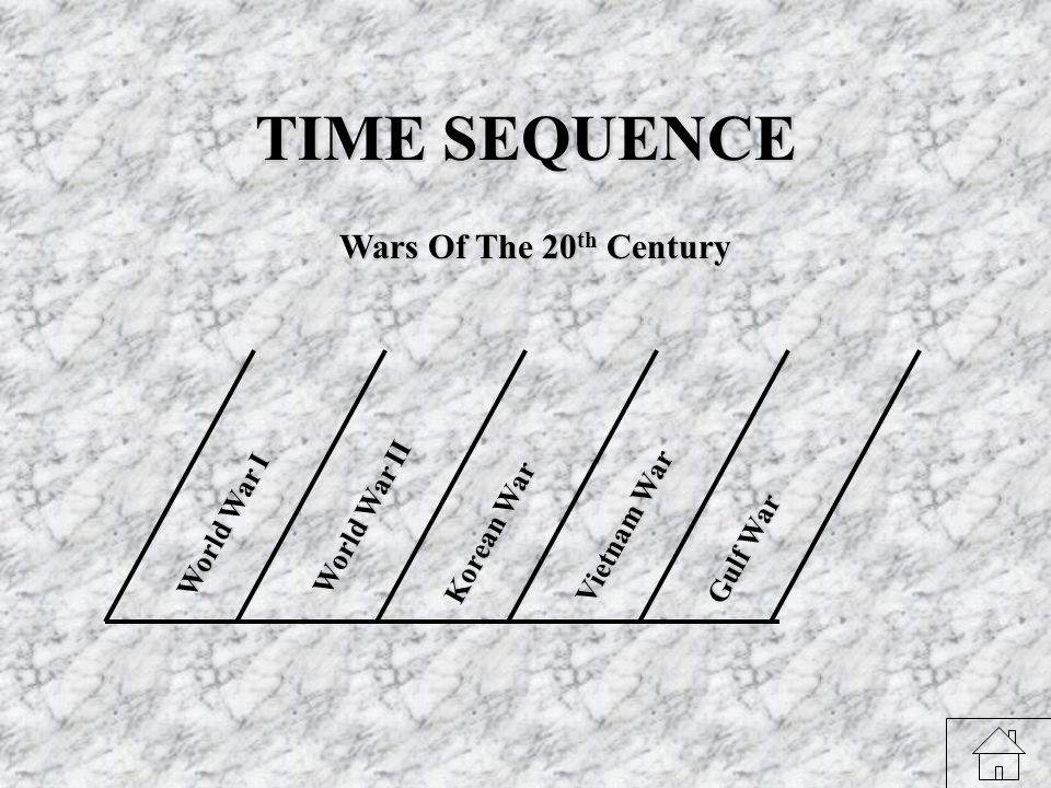 TIME SEQUENCE W o r l d W a r I W o r l d W a r I I K o r e a n W a r V i e t n a m W a r G u l f W a r Wars Of The 20 th Century