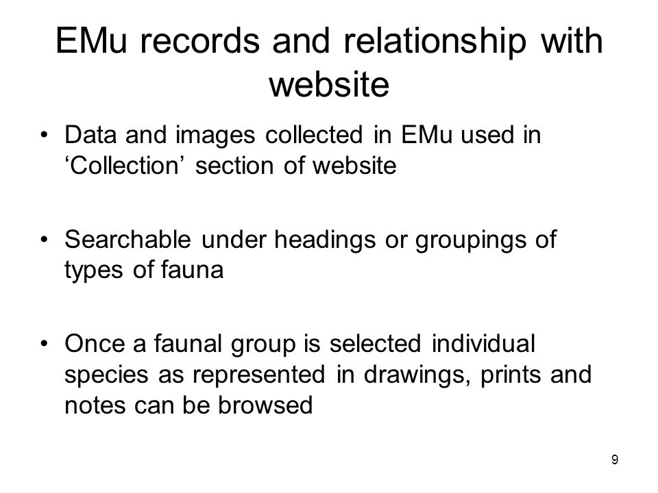 9 EMu records and relationship with website Data and images collected in EMu used in 'Collection' section of website Searchable under headings or groupings of types of fauna Once a faunal group is selected individual species as represented in drawings, prints and notes can be browsed