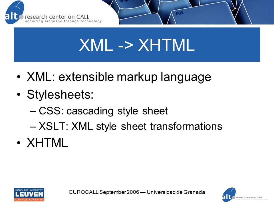 EUROCALL September 2006 — Universidad de Granada XML -> XHTML XML: extensible markup language Stylesheets: –CSS: cascading style sheet –XSLT: XML style sheet transformations XHTML