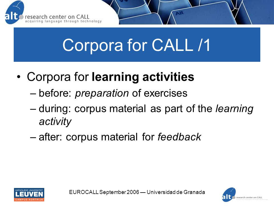 EUROCALL September 2006 — Universidad de Granada Corpora for CALL /2 Corpora as reference material –learner dictionaries –learner grammars