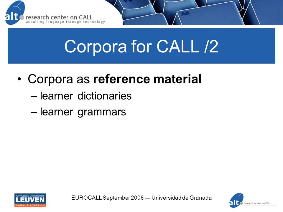 EUROCALL September 2006 — Universidad de Granada Corpora for CALL /2 Corpora as reference material –learner dictionaries –learner grammars