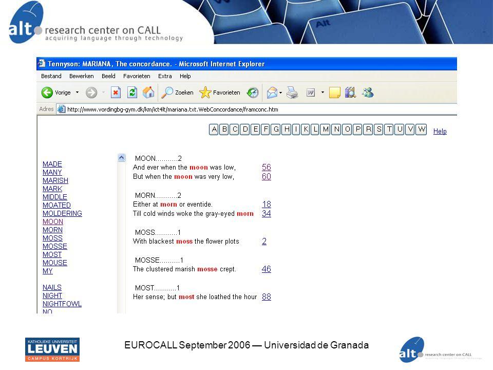EUROCALL September 2006 — Universidad de Granada xpath $ xpath -e //*/stance[contains(., langueur )] Verlaine1.xml Found 1 nodes in Verlaine1.xml: -- NODE -- Les sanglots longs Des violons De l automne Blessent mon coeur D une langueur Monotone.