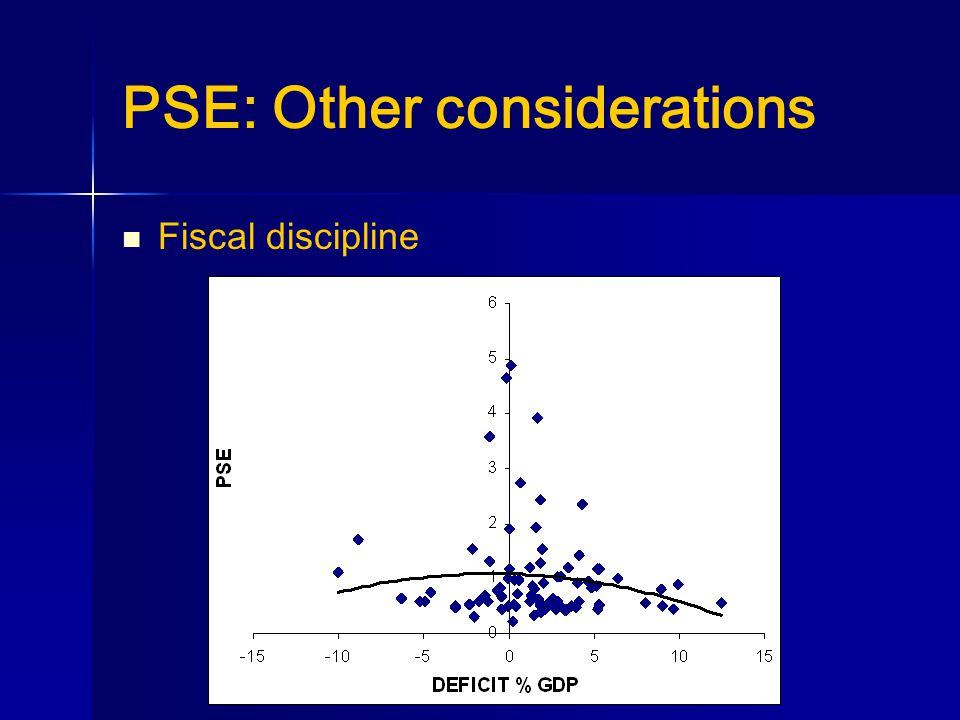 PSE: Other considerations Fiscal discipline