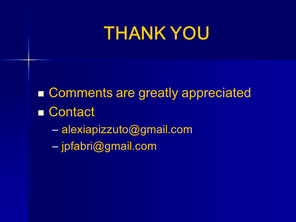 THANK YOU Comments are greatly appreciated Contact –alexiapizzuto@gmail.com –jpfabri@gmail.com